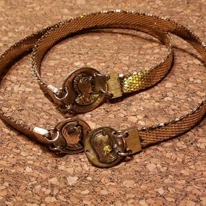 Vtg Gold Greek Spartan Fish Scale Chain Belt